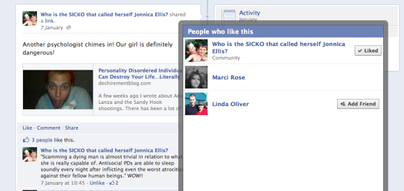 Marci Rose 'Likes' a Link to My Blog That Says She's a Psychopath!